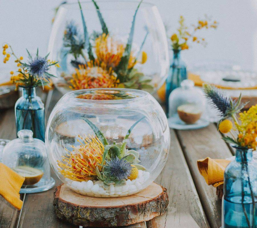 Flowers in fish bowl