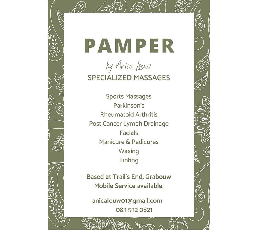 Pamper by Anica Louw leaflet