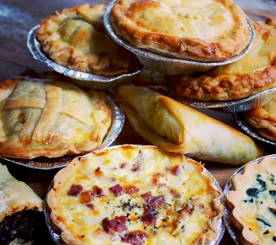 Freshly baked pies and quiches