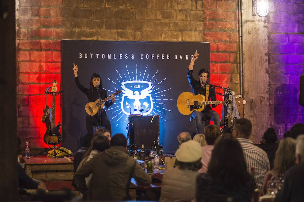 Multi-instrumentalist folk-rock duo Bottomless Coffee Band took to the stage and beguiled the crowd