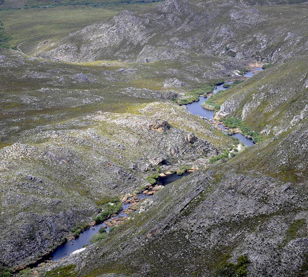 Looking down onto the Palmiet River