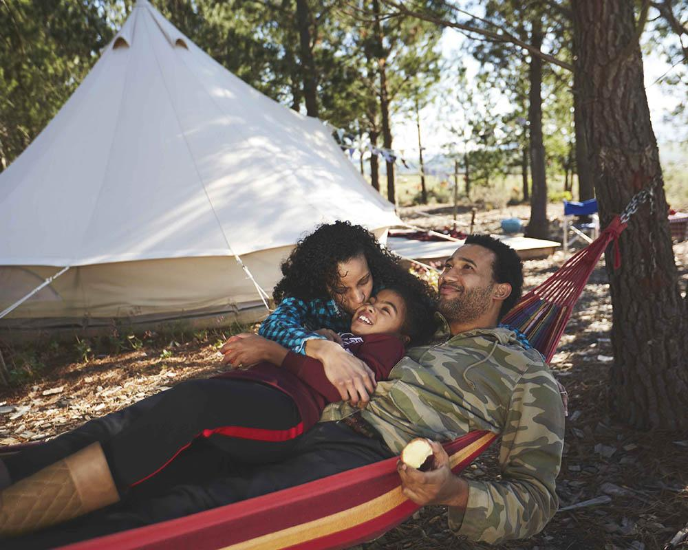 Family glamping outdoors
