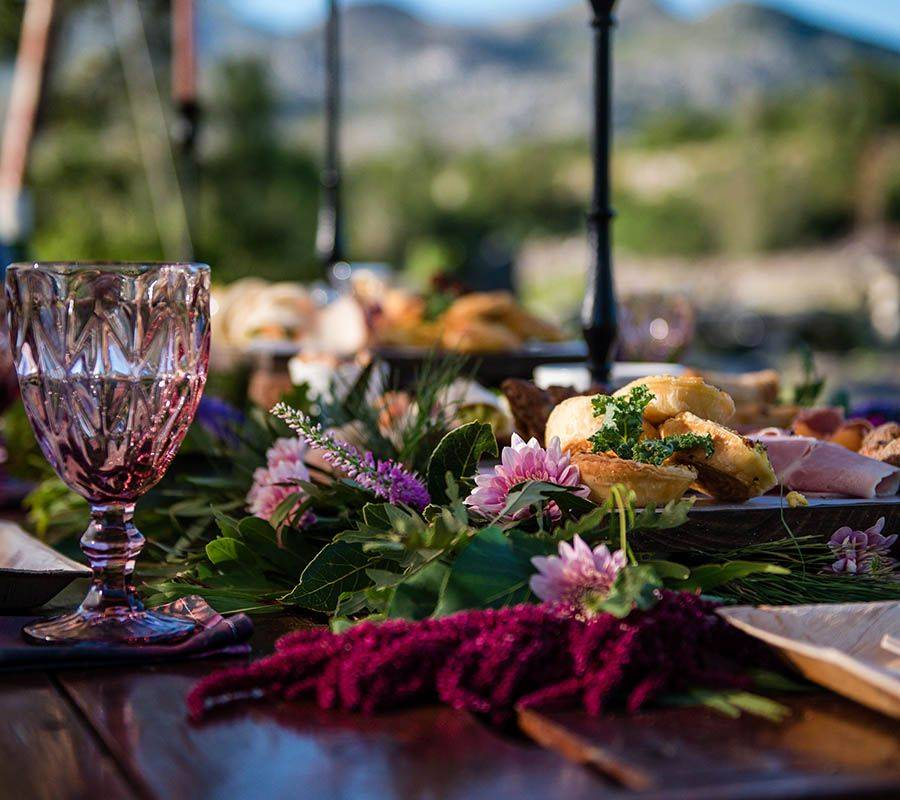 Colourful feast table