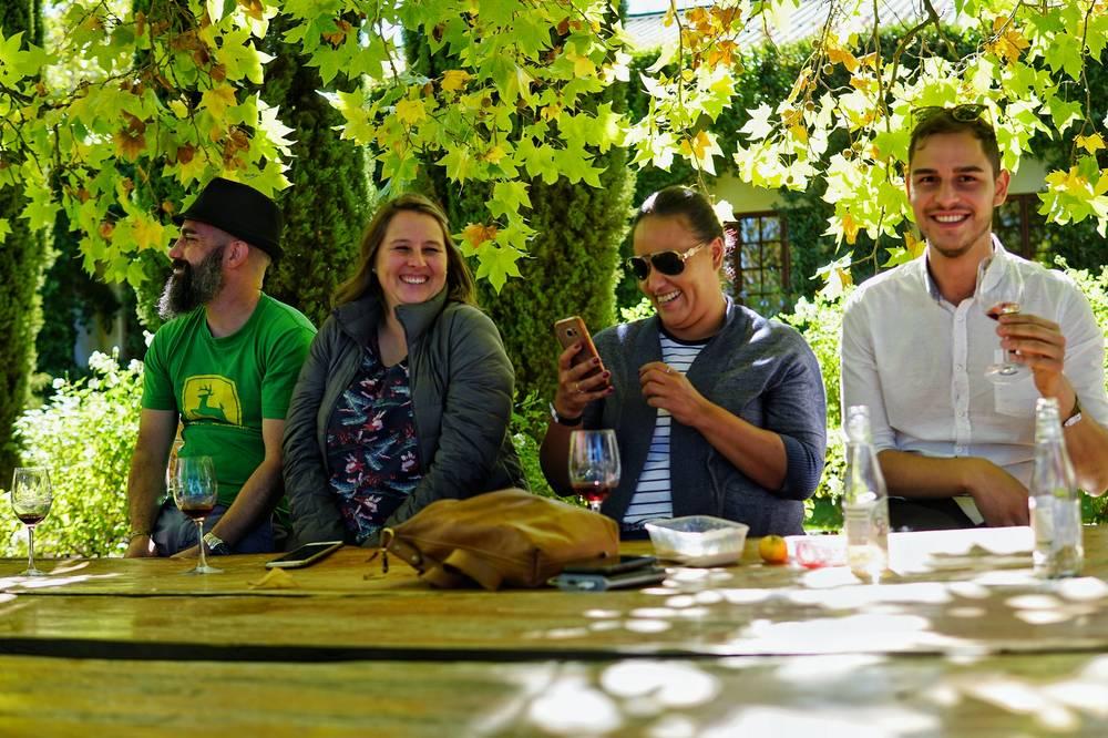 Friends enjoy the Elgin Cool Wine festival