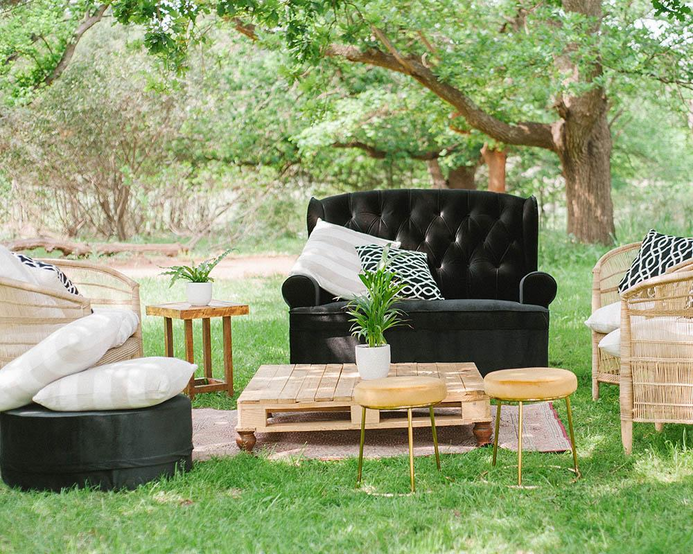 Outdoor seating area for guests