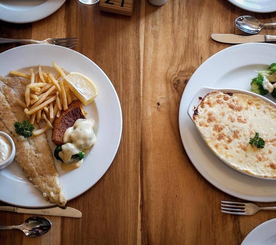 Fresh fish and lasagne
